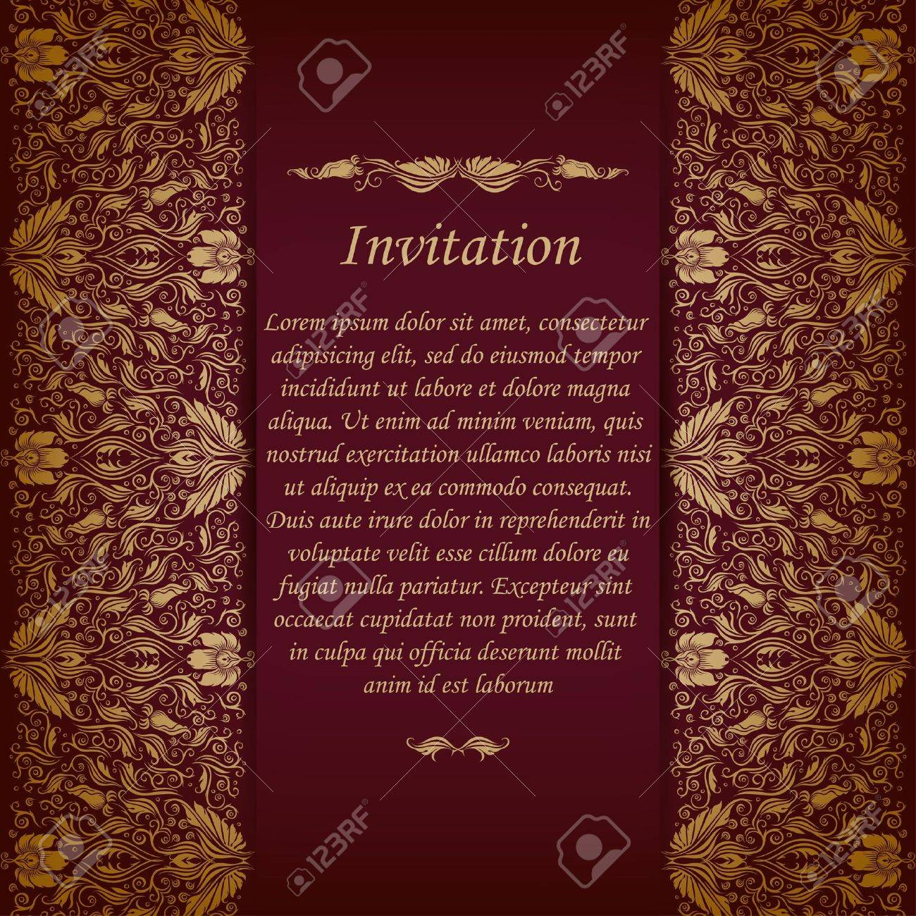 Elegant ornate background with lace seamless ornament for invitations, greeting card, menu  Floral elements, place for text Stock Vector - 21382871