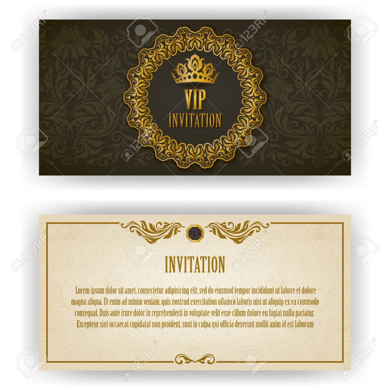 Elegant template for vip luxury invitation card with lace elegant template for vip luxury invitation card with lace ornament and place for text floral stopboris Image collections