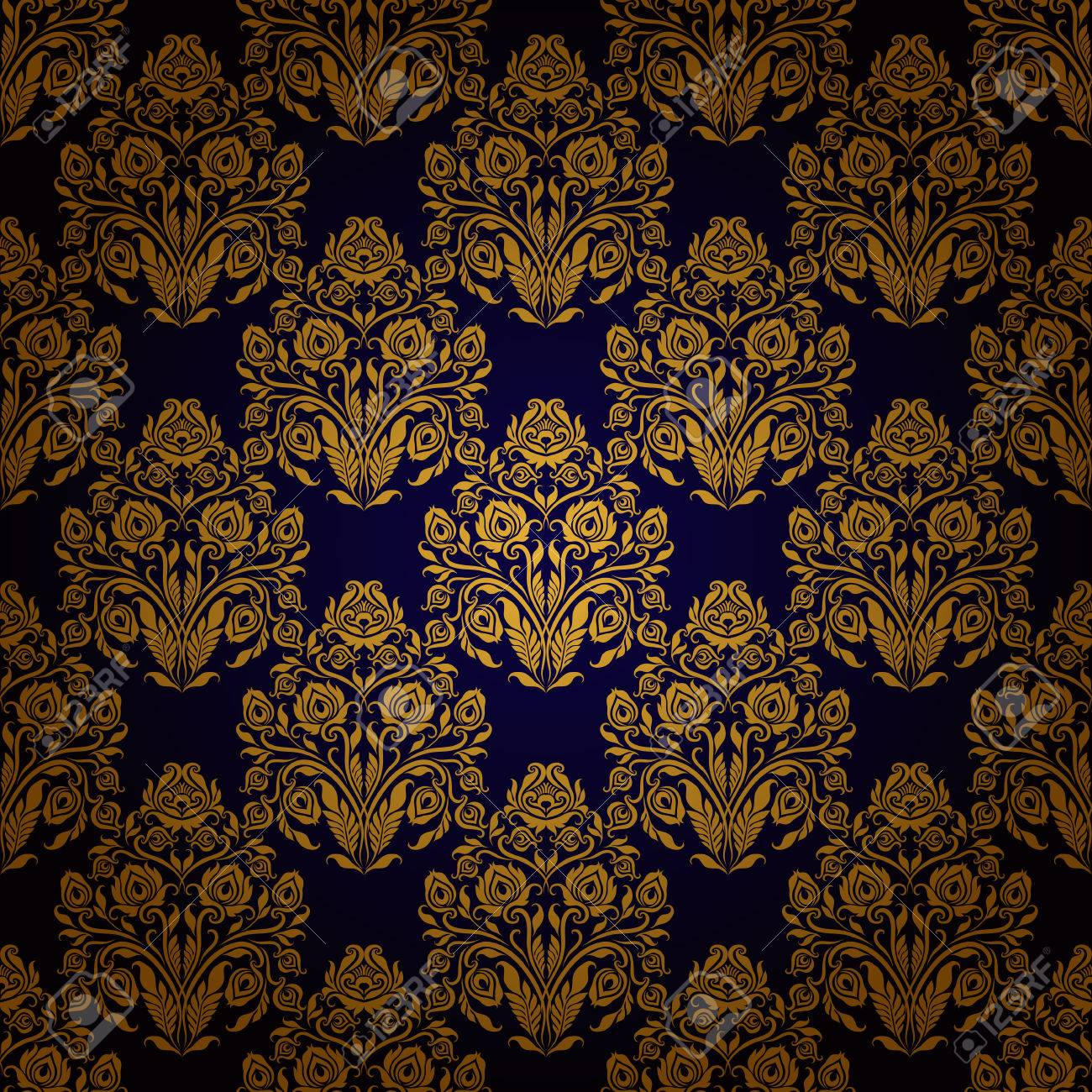 Damask Seamless Floral Pattern Royal Wallpaper Ornaments On A Dark Background Stock Vector
