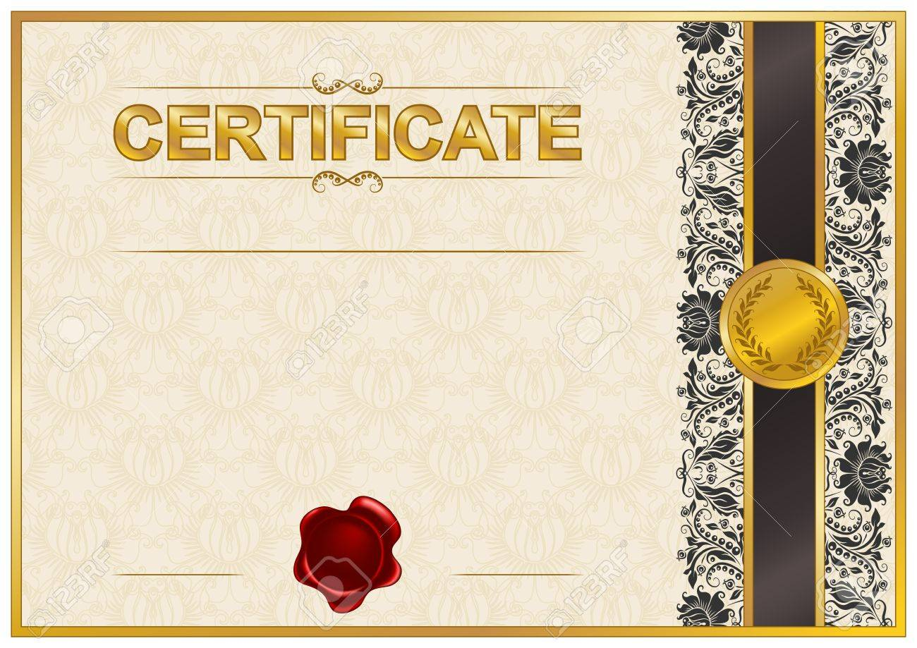 Elegant Template Of Certificate Diploma With Lace Ornament Wax