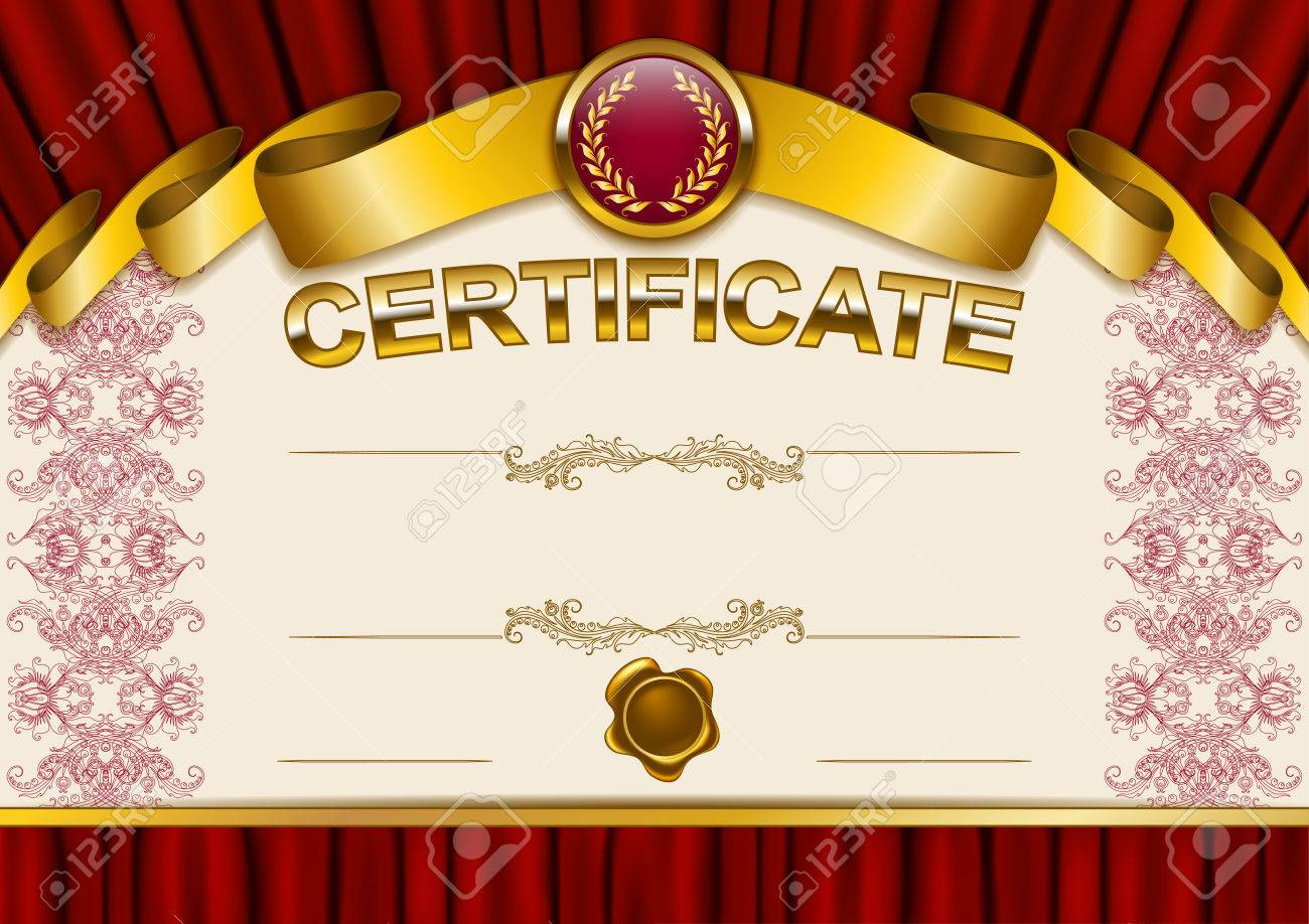 Elegant Template Of Certificate, Diploma With Lace Ornament ...