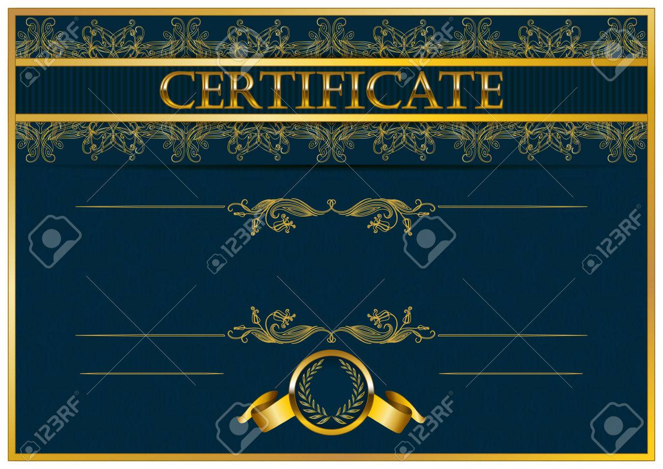 elegant template of certificate diploma with decoration of lace pattern ribbon laurel wreath