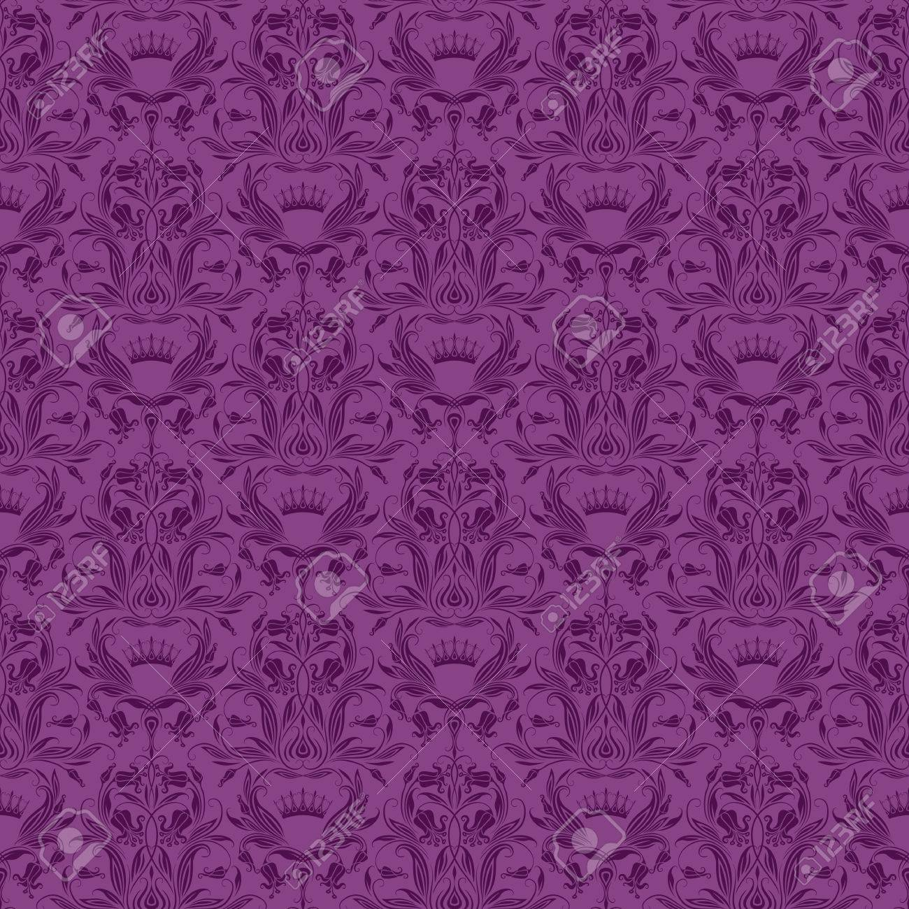 Damask Seamless Floral Pattern Royal Wallpaper Ornaments On A Purple Background Vector
