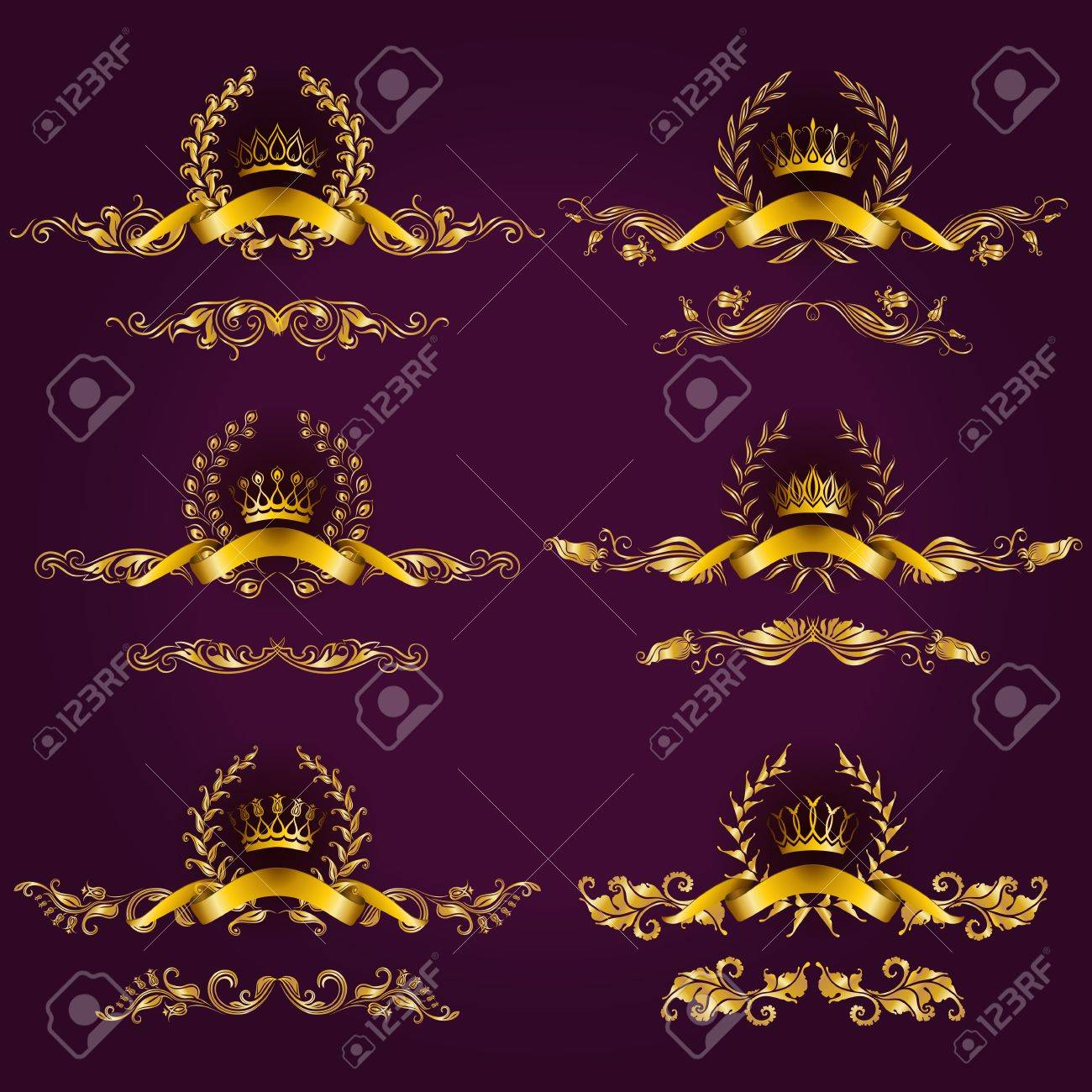 Set Of Luxury Gold Borders, Frames For Design Of Labels, Emblems ...
