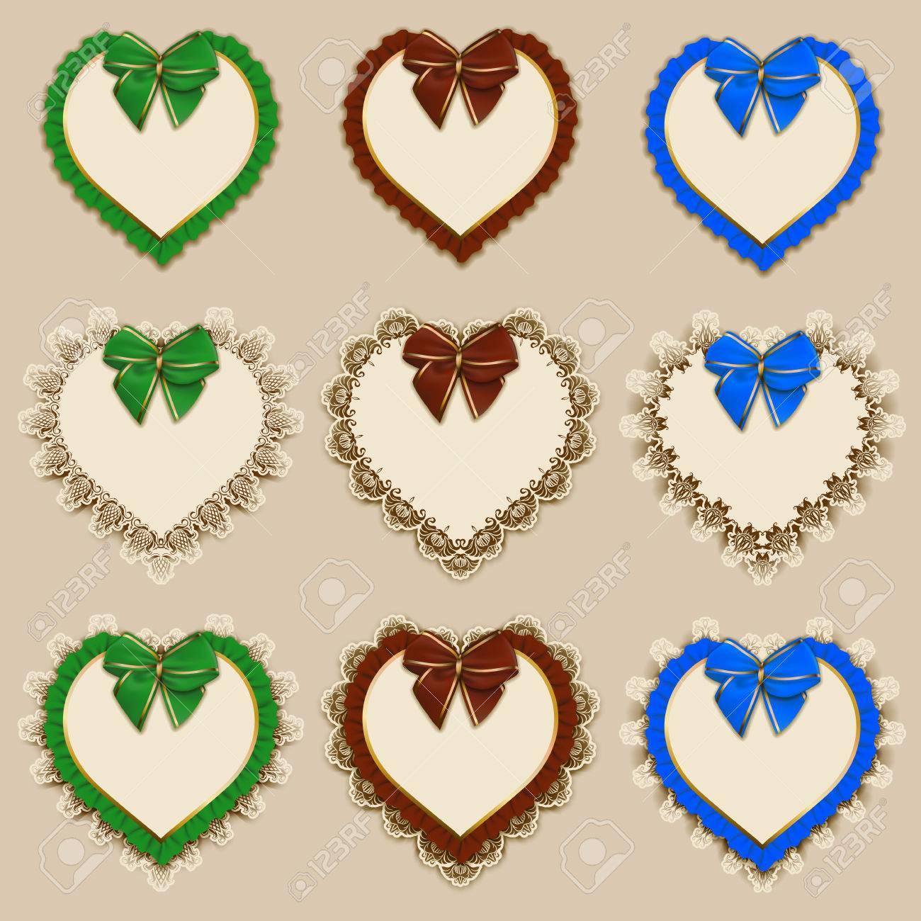 Set Of Elegant Templates Of Heart Frame Design For Luxury Invitation ...