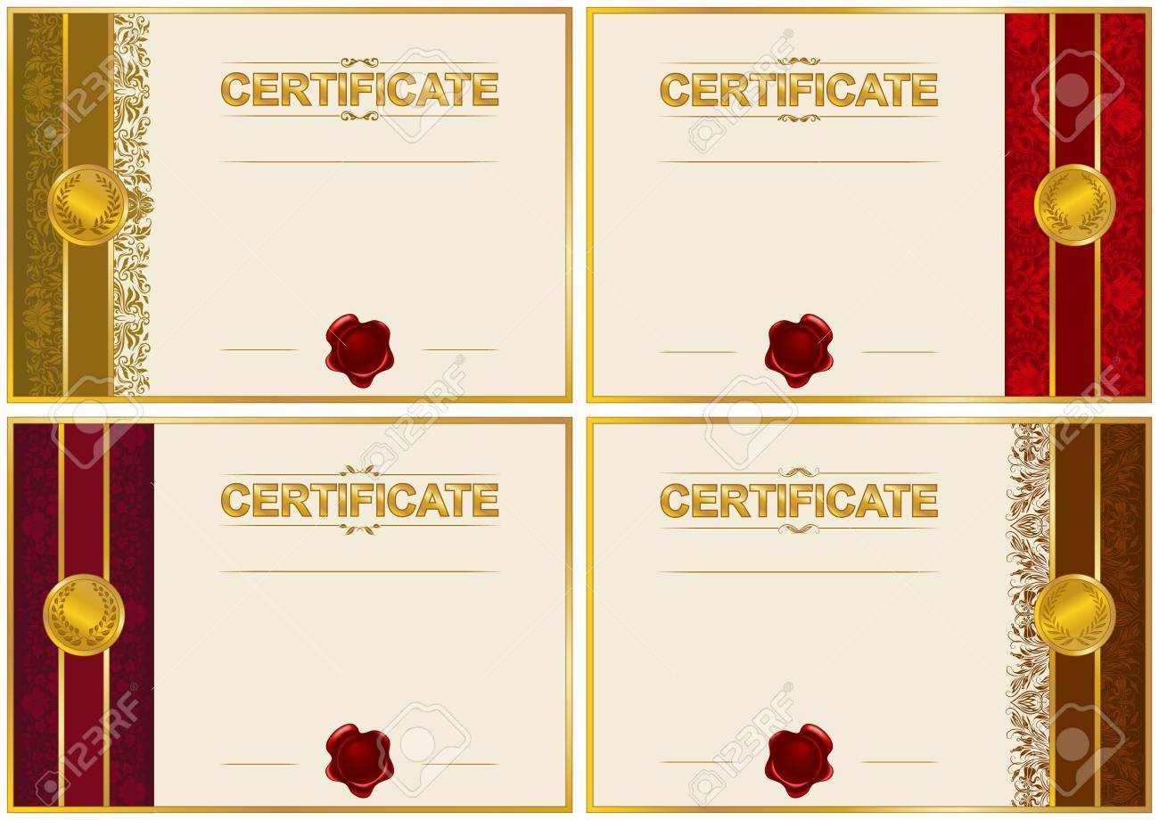 Set Of Elegant Templates Of Diploma With Decoration Of Lace Pattern ...