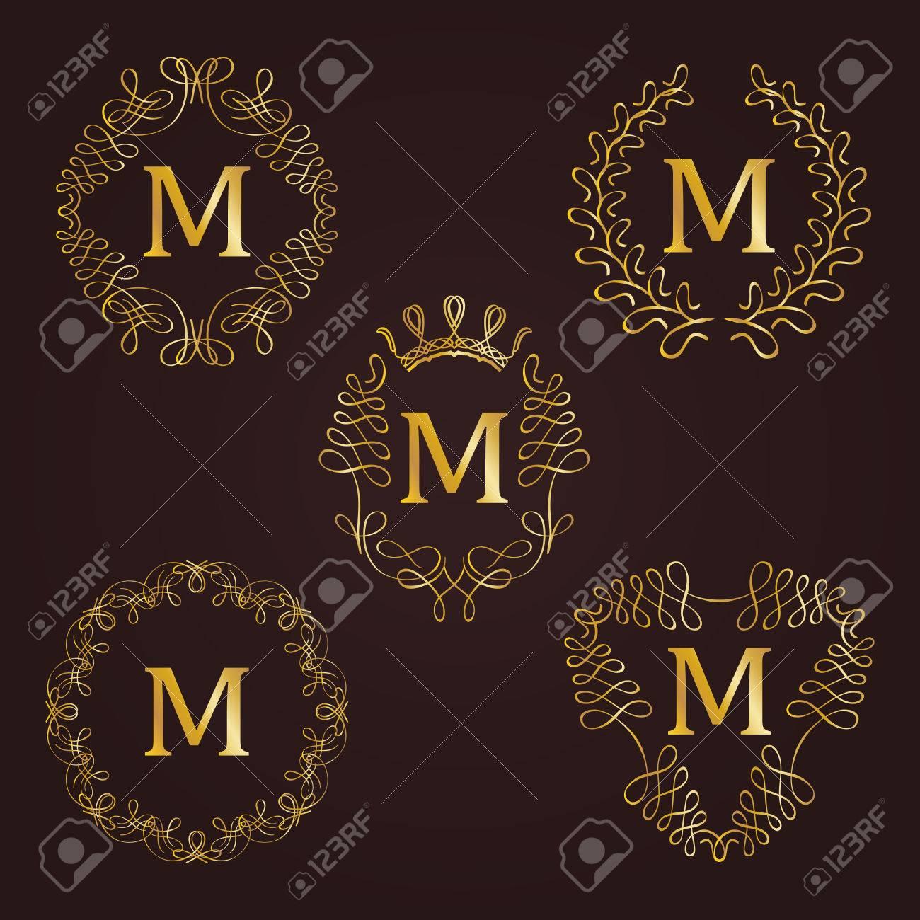 Set Goldene Monogramm Für Grafik-Design Auf Grauem Hintergrund ...