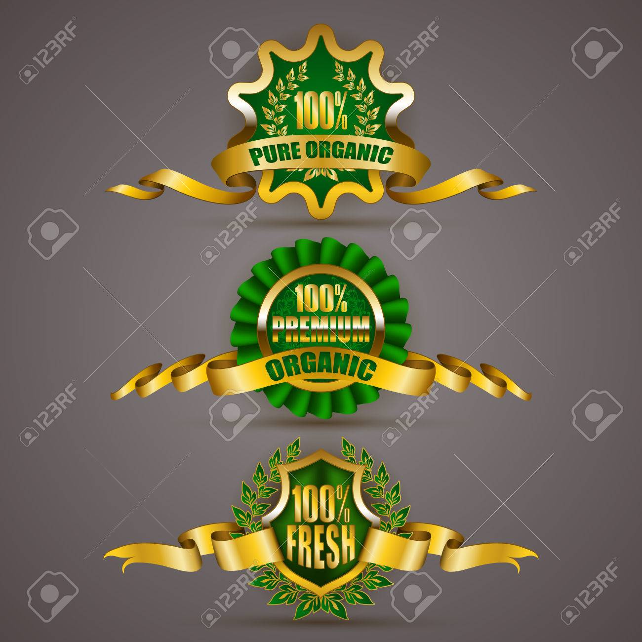 Set of luxury gold badges with floral laurel wreath ribbons 100 pure premium organic 100