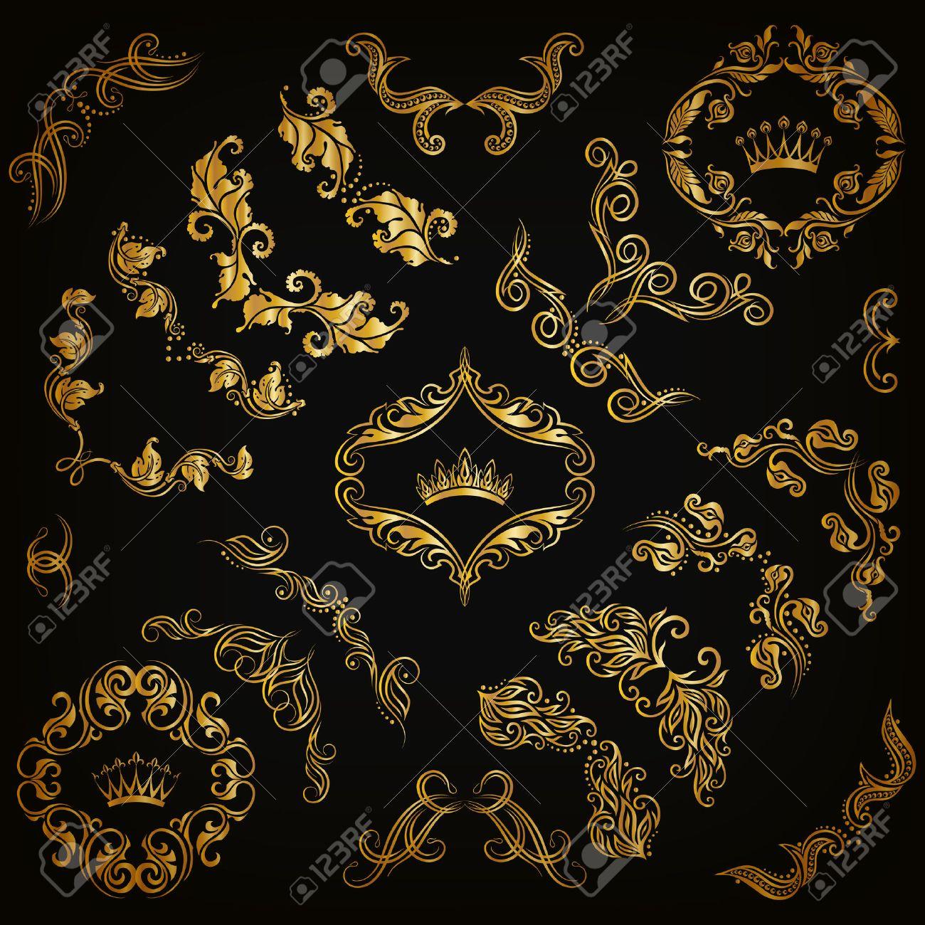 Vektor Satz Von Gold Dekorative Handgezeichneten Floralen Elementen ...