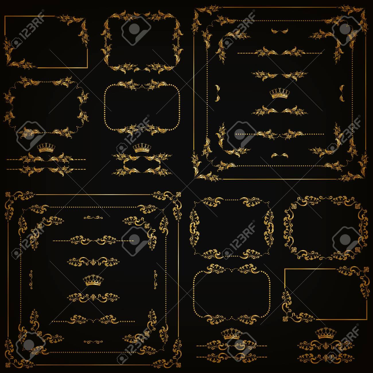 Set Gold Dekorativen Horizontalen Floralen Elementen, Ecken, Ränder ...
