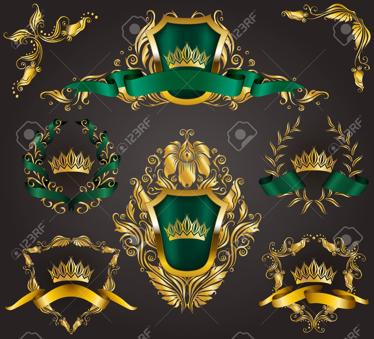 252e9226837a Set Of Golden Royal Shields With Floral Elements