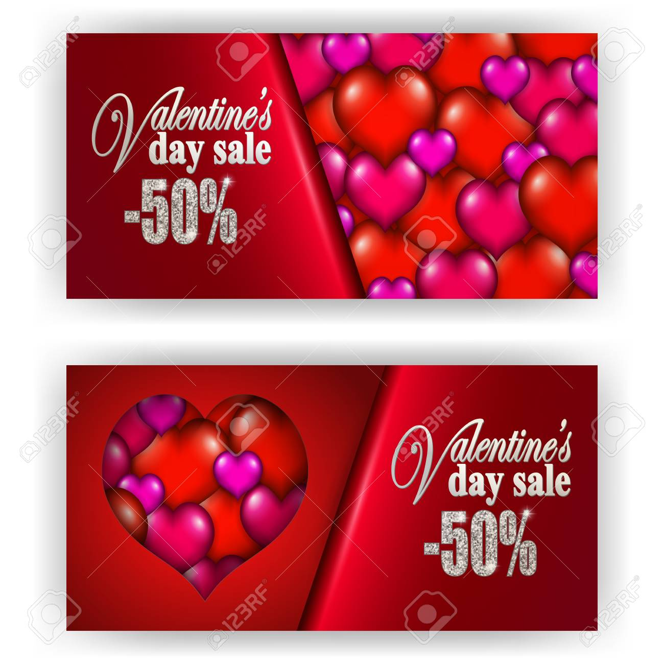 Set Of Gift Vouchers With Hearts For Annual Festival Sale