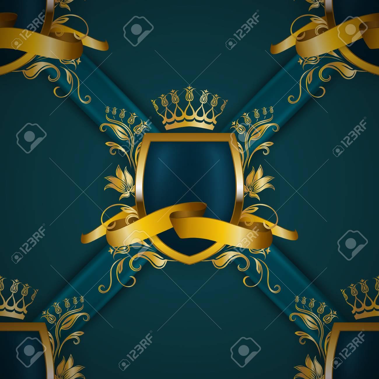 Golden royal shield with floral elements, ribbons, damask ornament on background for site, web design. Old frame, border, crown, realistic seamless pattern in vintage style for label, emblem, badge, logo - 97193123