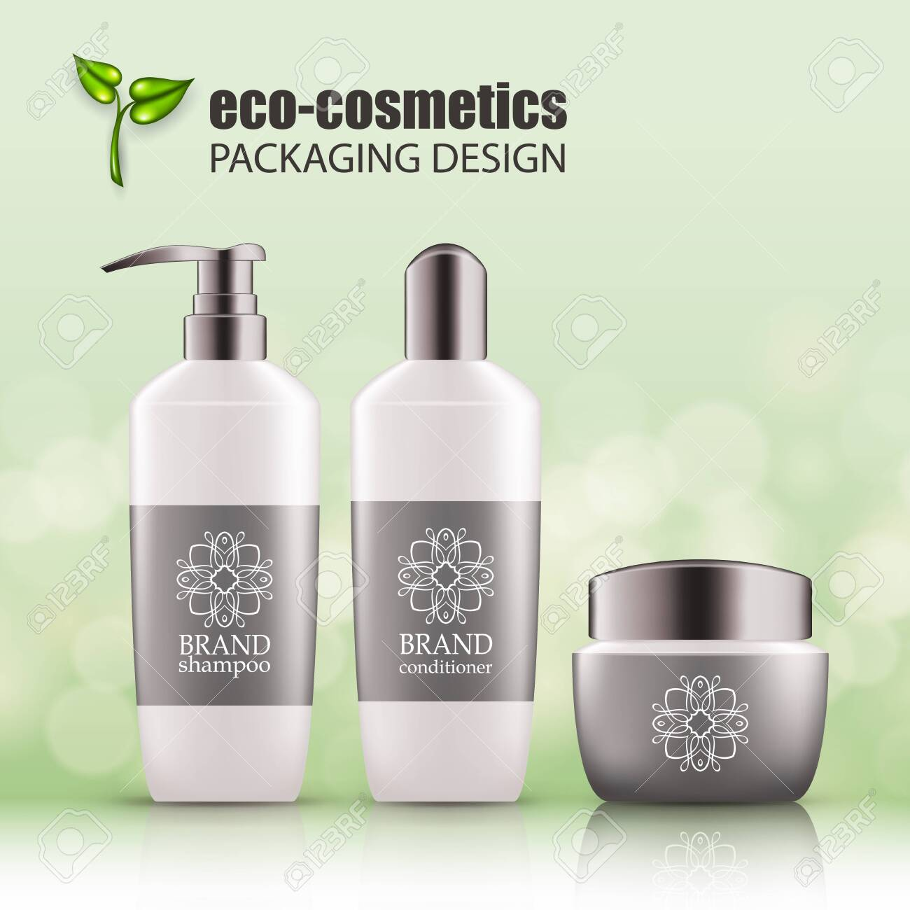 Set of realistic white glass bottles, silver cap for eco-cosmetic with line logo. Empty package for haircare cosmetic - shampoo, conditioner, hair mask. Blank template, vector mockup for ads, magazine - 121417878