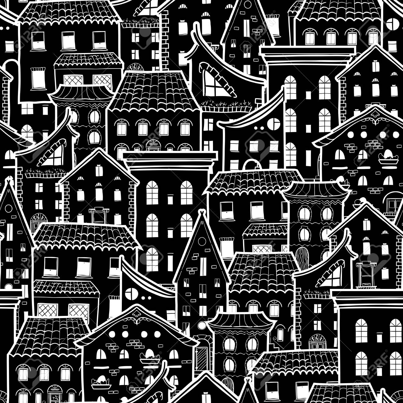 Dark Seamless Pattern With Houses Doodle House Vector Background