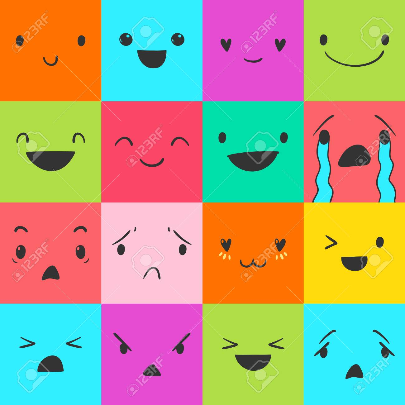 Square emoticons with different emotions, vector set of various hand-drawn  cute expressions,