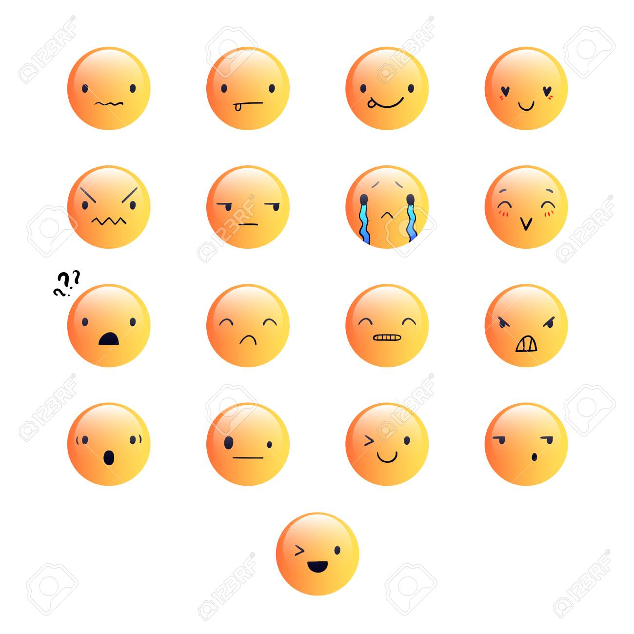 Yellow emoticons with different emotions, vector set of various cute  expressions, EPS 10 스톡