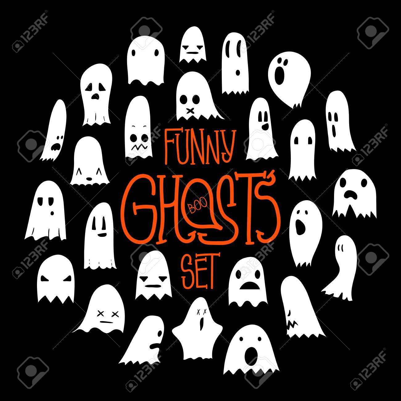 Grand Ensemble Noir Et Blanc De Personnage Fantasmagorique Effrayant De Fantômes De Dessin Animé Fantômes Dessinés à La Main Avec Diverses
