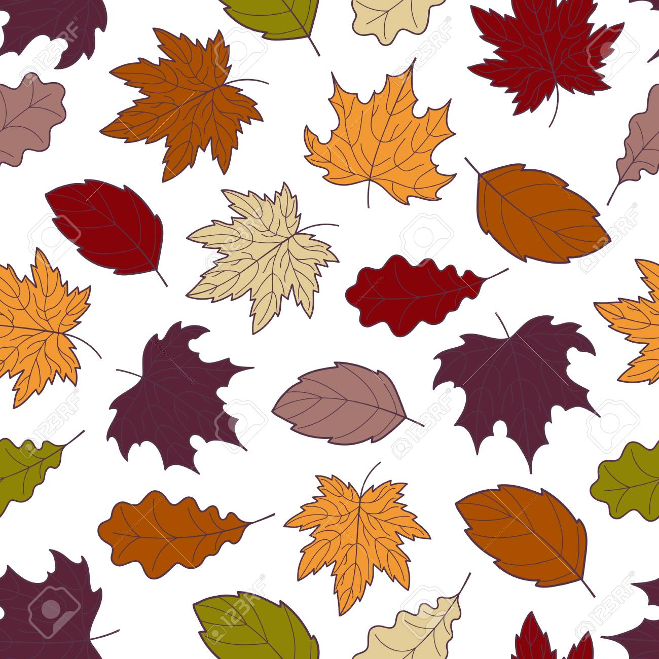Doodle Autumn Leaves Seamless Pattern Vector Hand Drawn Fall