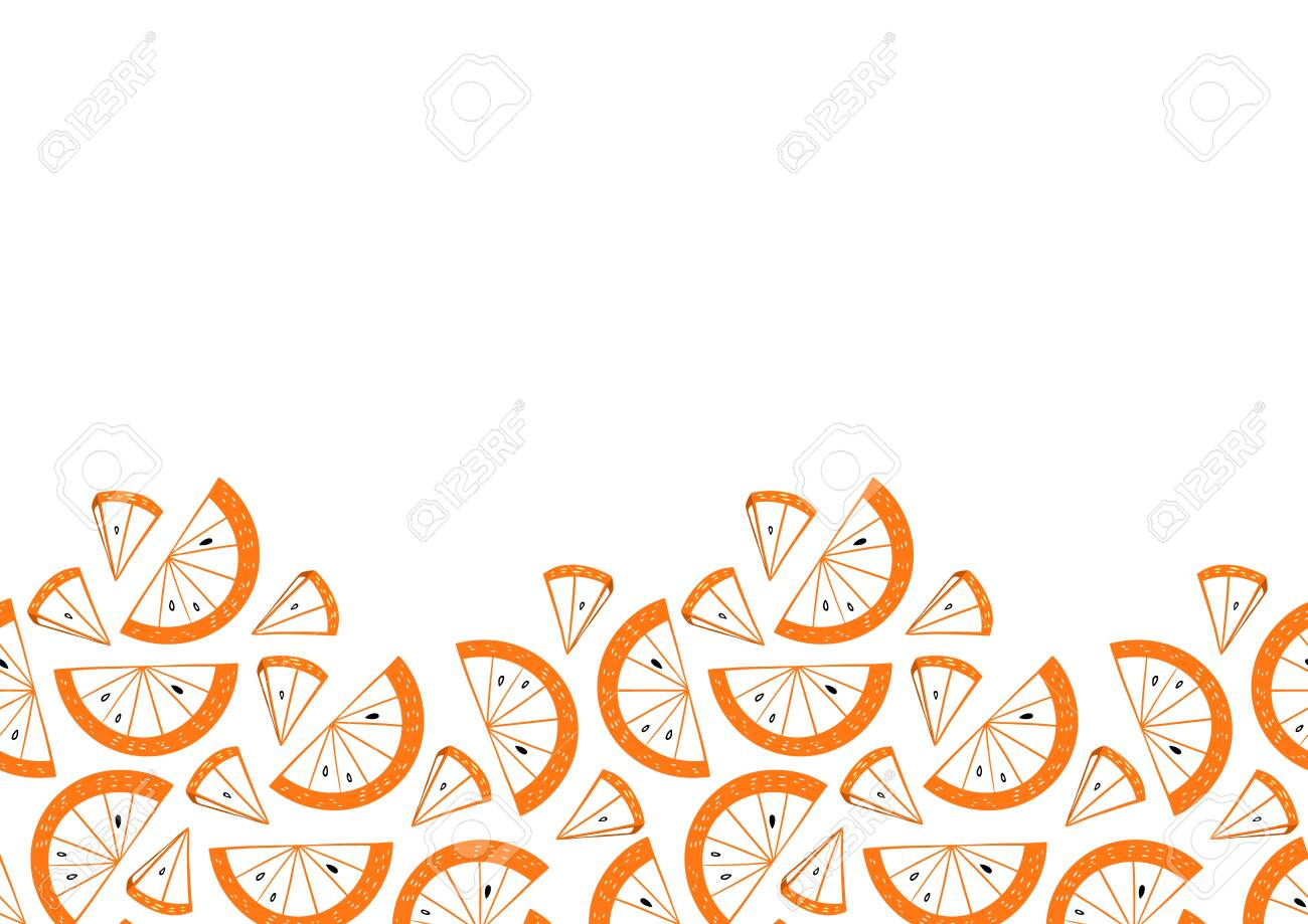 Slices of orange seamless frame. Citrus fruit border in colorful cartoon style. Juicy tasty appetizing illustration. Vector wallpaper for food design and textile. - 150068593