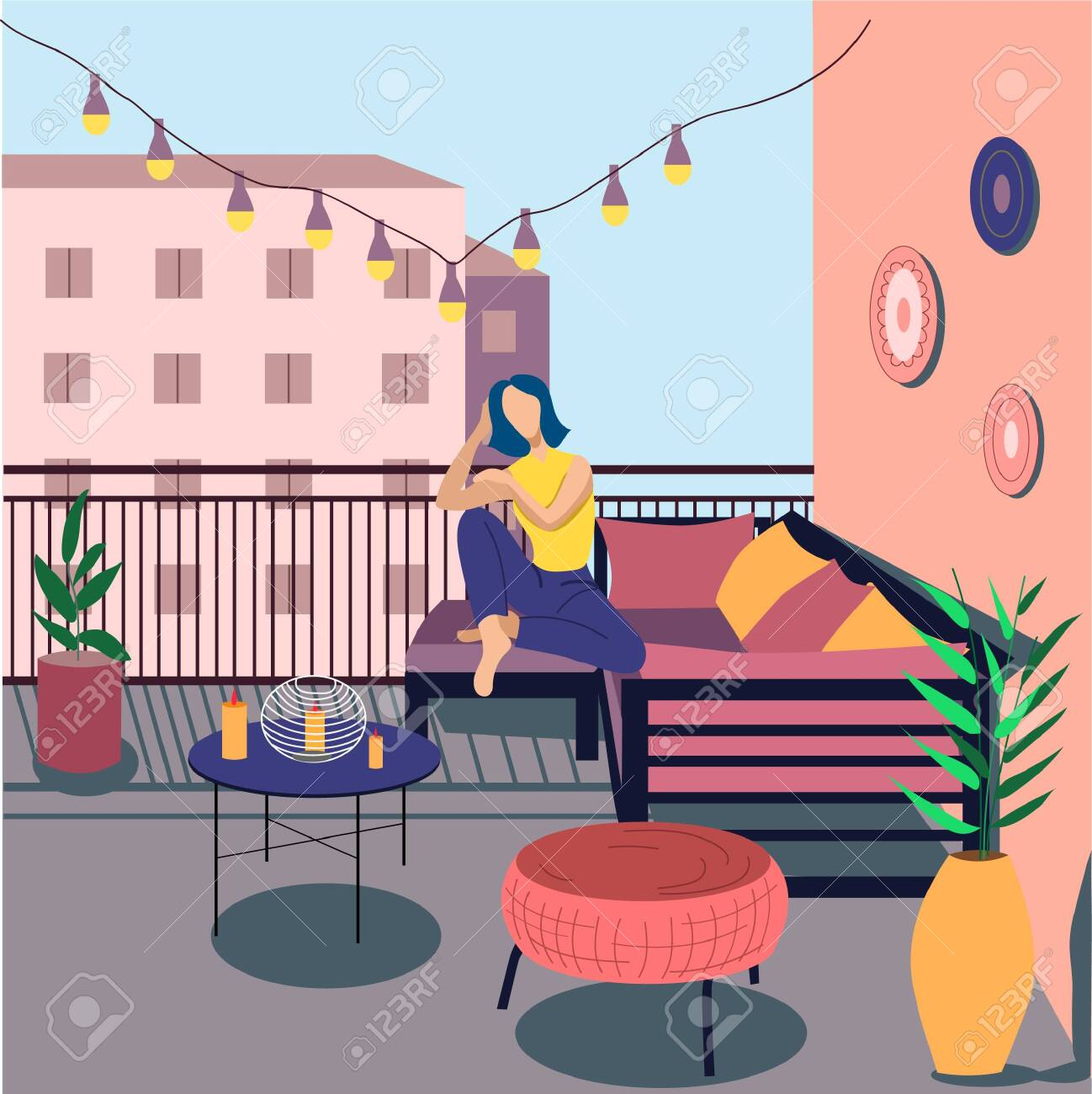 A Young Girl Is Bored At Home Home Furnishings Beautiful Interior The Girl Is Sitting On The Balcony Flat Vector Illustration Lizenzfrei Nutzbare Vektorgrafiken Clip Arts Illustrationen Image 148441343