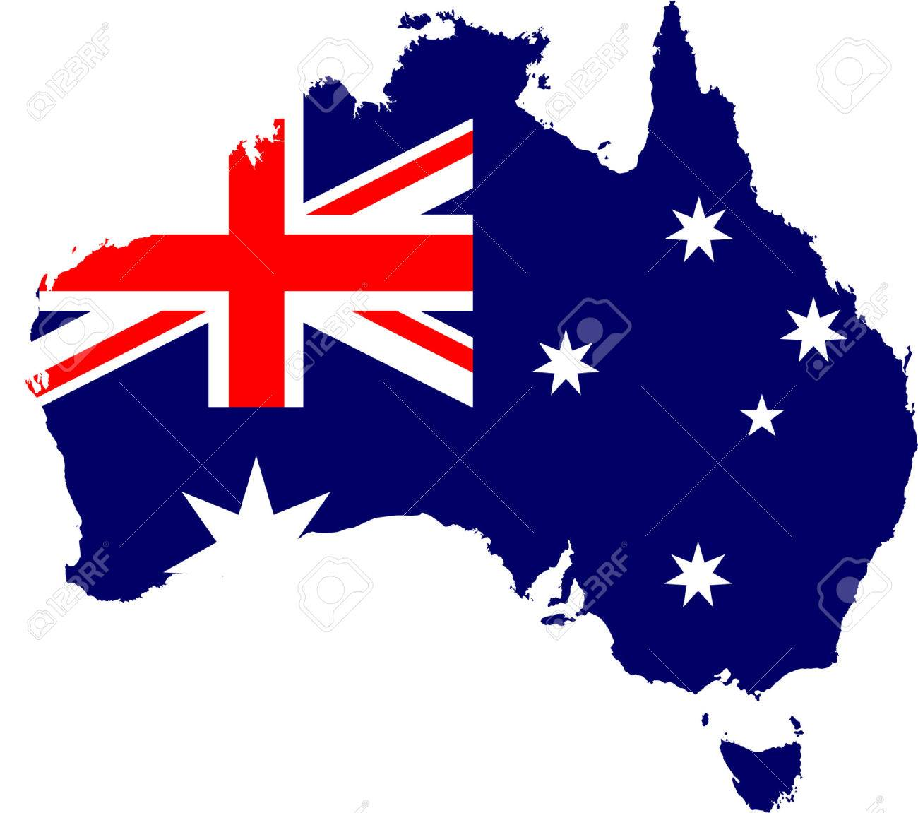 Australia Map With Flag.Australia Map And Flag Isolated Vector In Official Colors