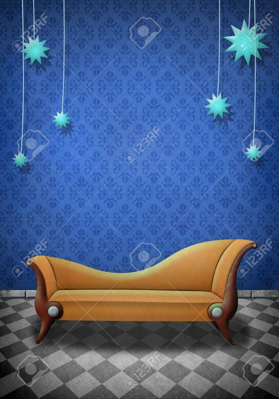Beautiful Illustration of a scene with a brown sofa Stock Illustration - 13134388