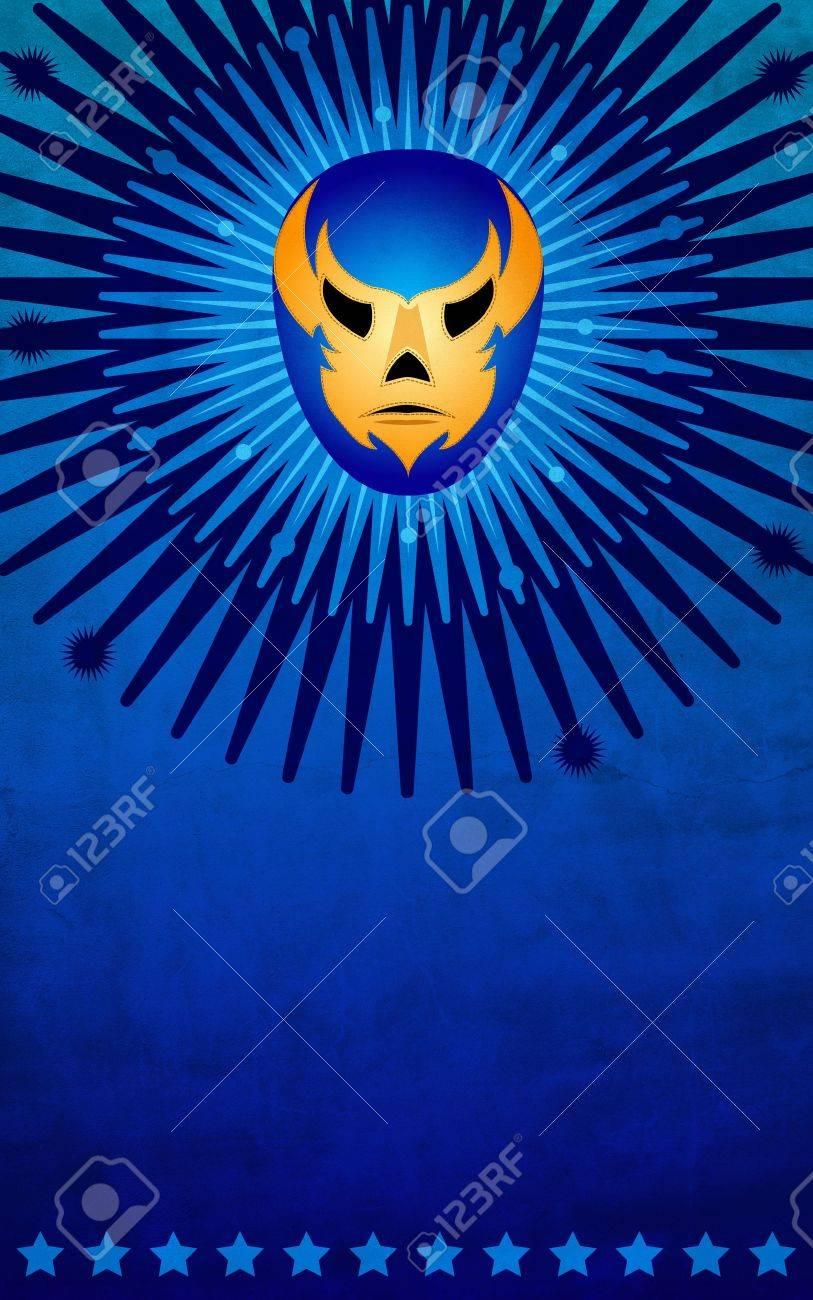 Cartel de la máscara de luchador mexicano - tarjeta - plantilla Foto de archivo - 13376200