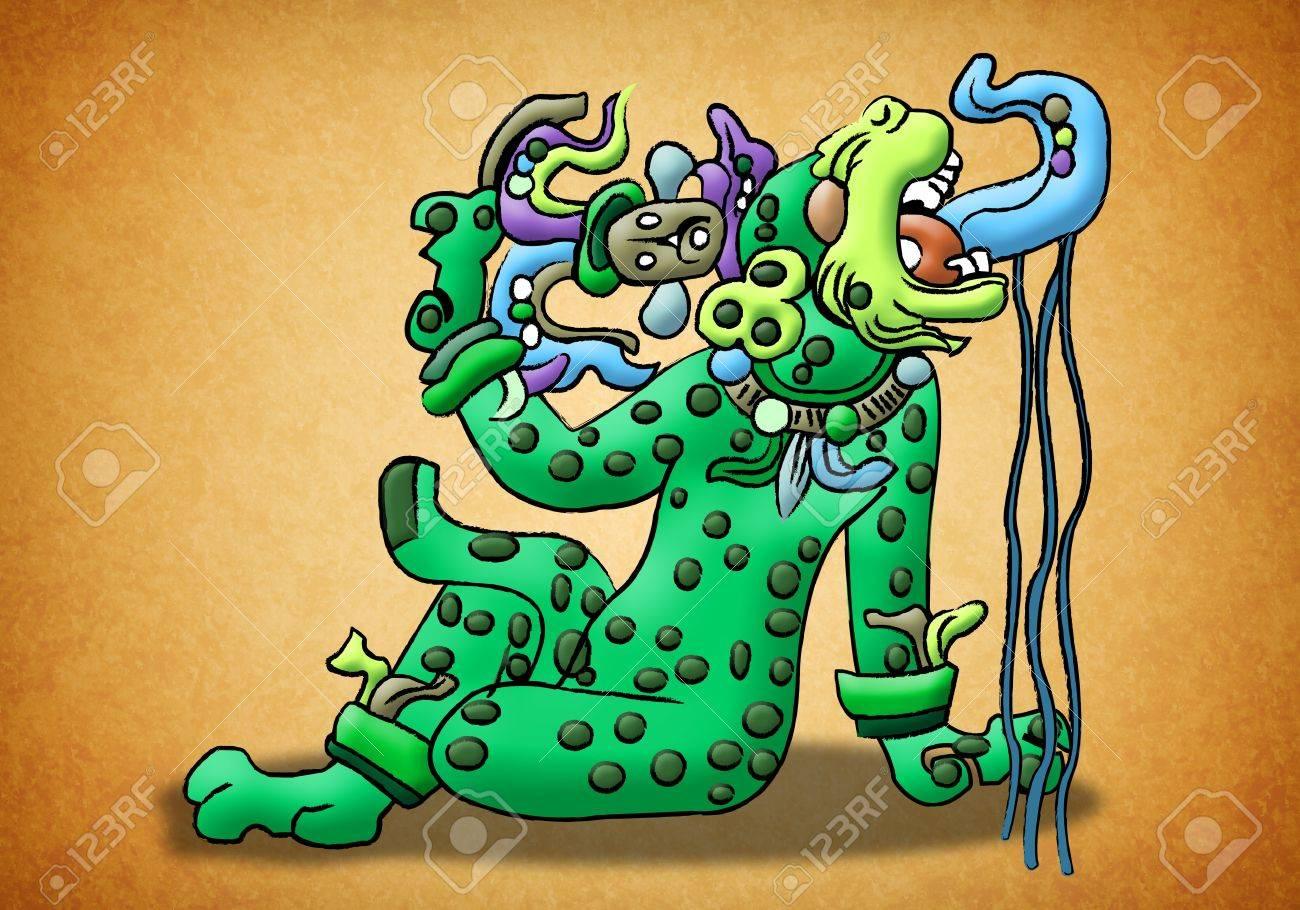 Maya deity - Jaguar - waterlily Stock Photo - 13491001