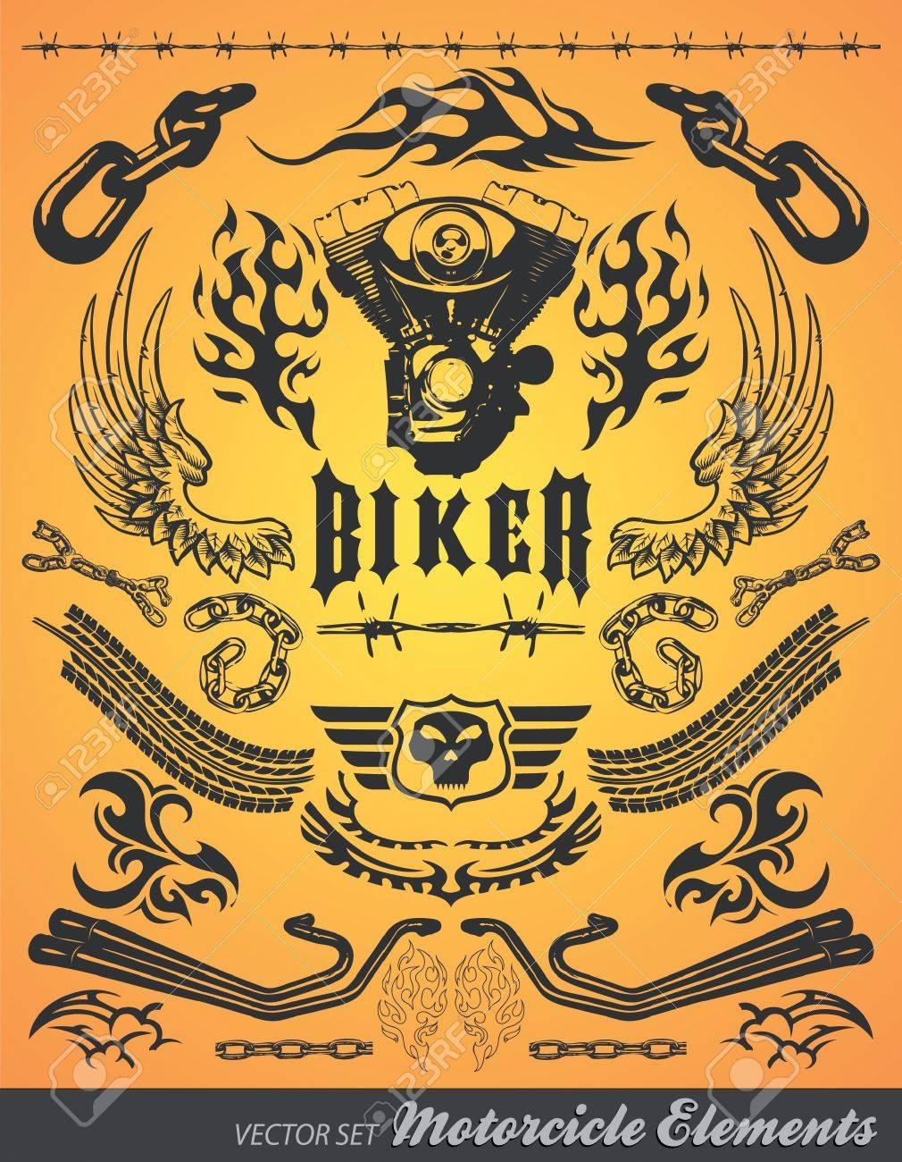 Chopper Motorcycle elements vector Stock Vector - 16599546
