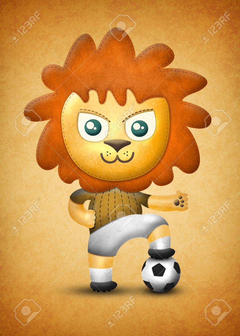 Cartoon cute lion, paper and fabric textures on texture background Stock Photo - 17992344