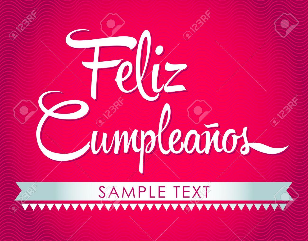Feliz Cumpleanos Happy Birthday Spanish Text Vector Lettering