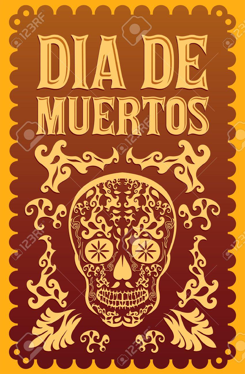 Dia De Muertos Mexican Day Of The Death Spanish Text Vector
