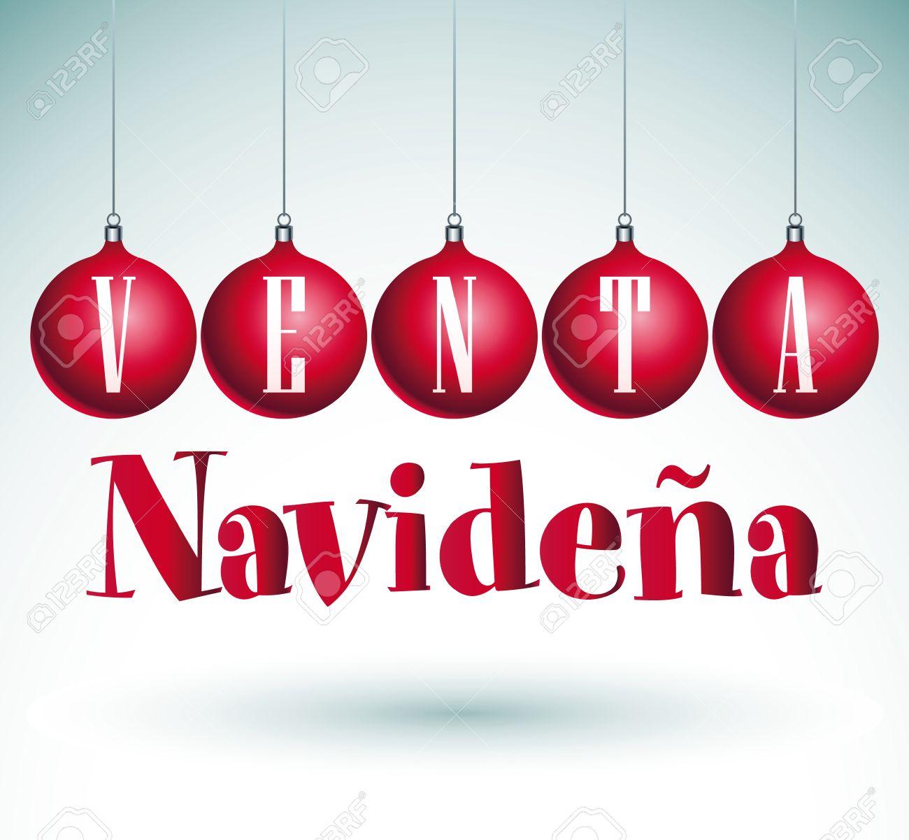 Venta Navideña Christmas Sale Spaanse Tekst Vector Royalty Vrije