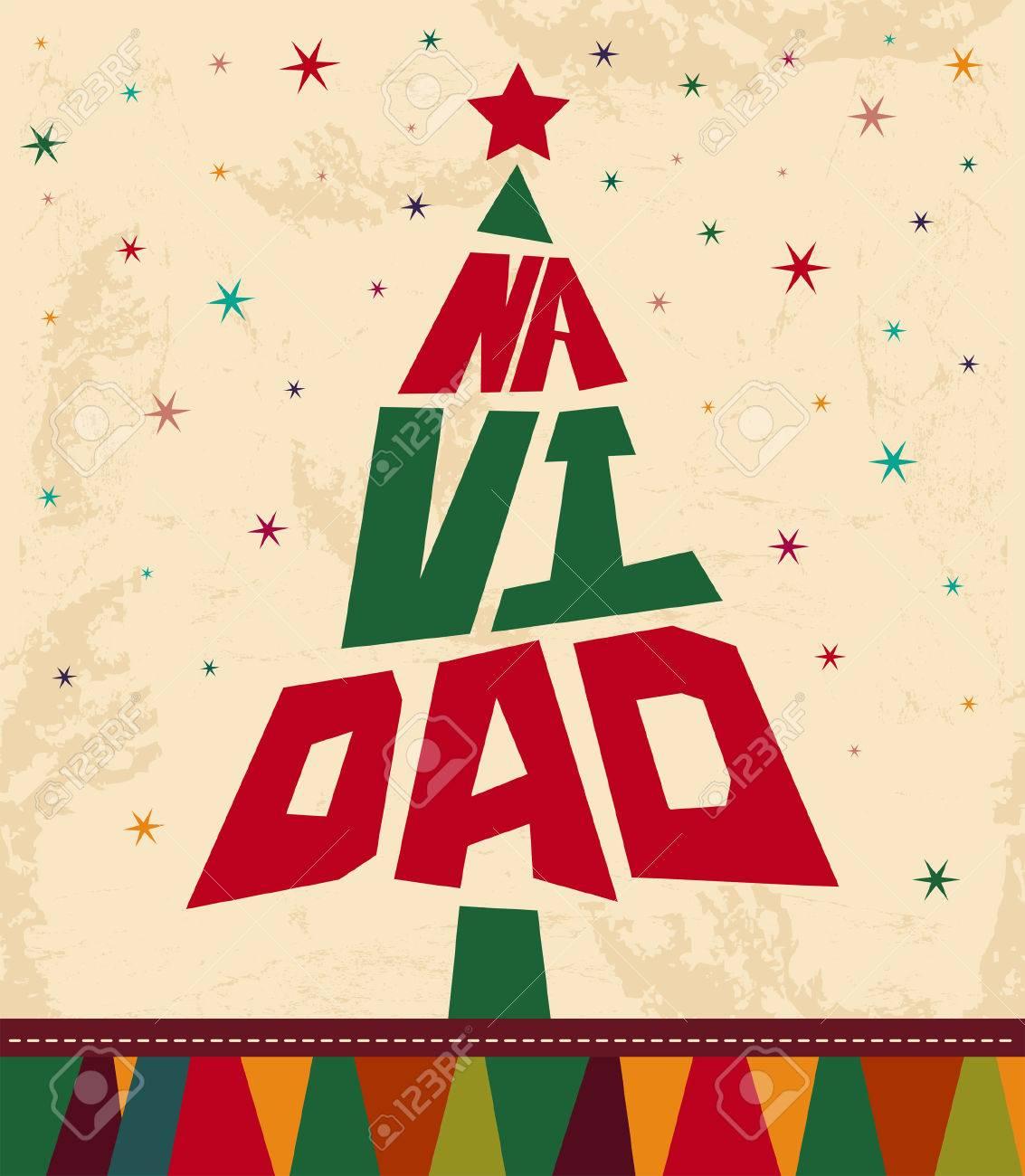 Navidad   Noël Texte Espagnol   Forme D'arbre De Carte De Noël De