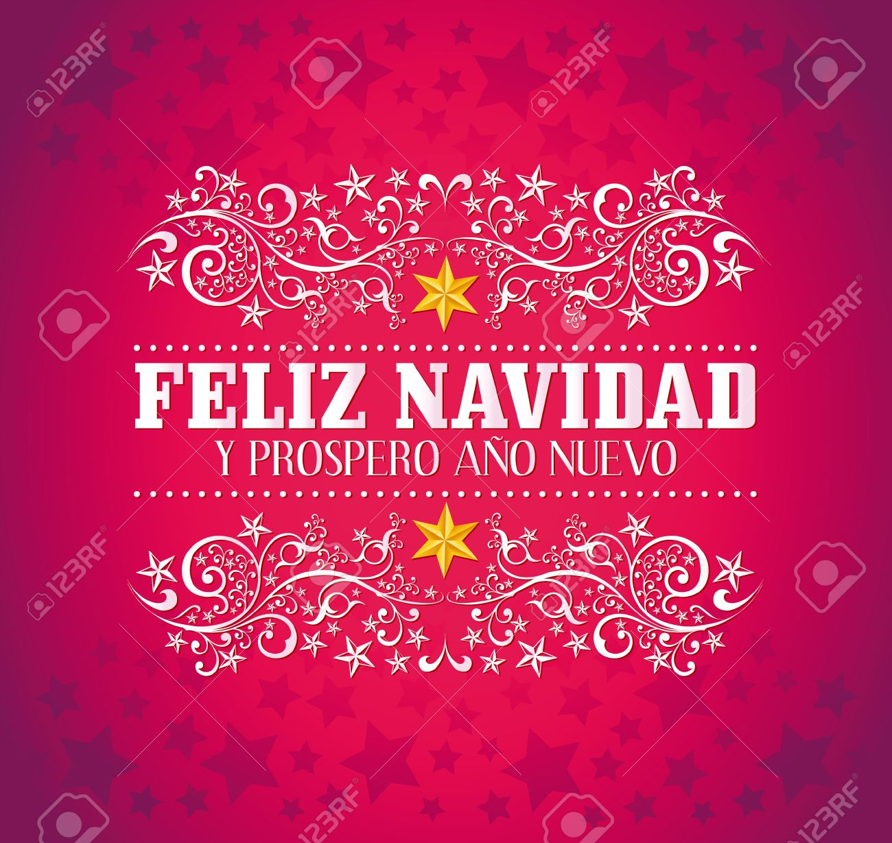 Feliz Navidad Joyeux Noel 2019.Feliz Navidad Y Prospero Ano Nuevo Joyeux Noel Et Bonne Annee Carte De Texte Espagnol Vecteur