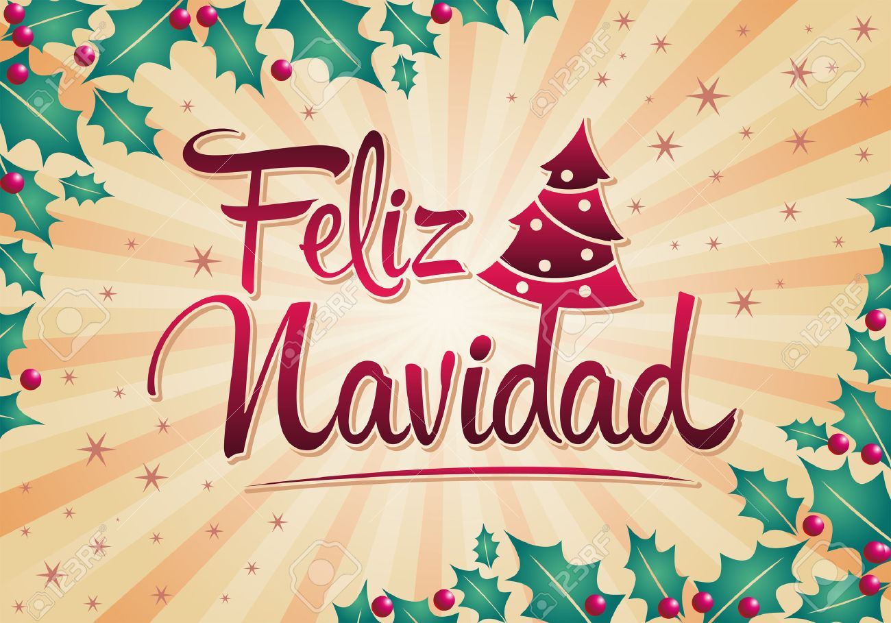 Christmas Spanish.Feliz Navidad Merry Christmas Spanish Text Vector Christmas