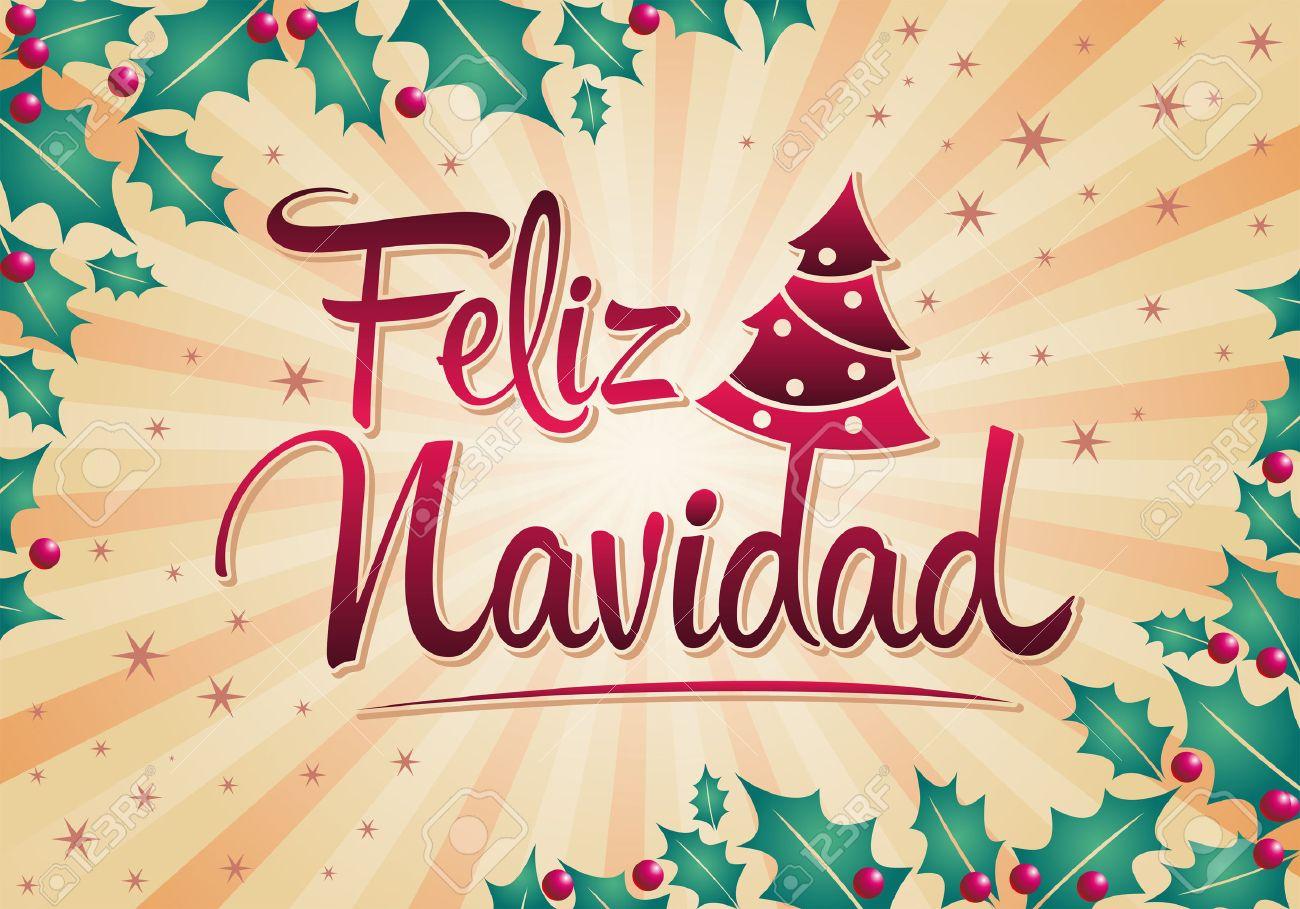 Feliz Navidad Joyeux Noel 2019.Vecteur D Arbres De Noel Feliz Navidad Joyeux Noel Texte Espagnol
