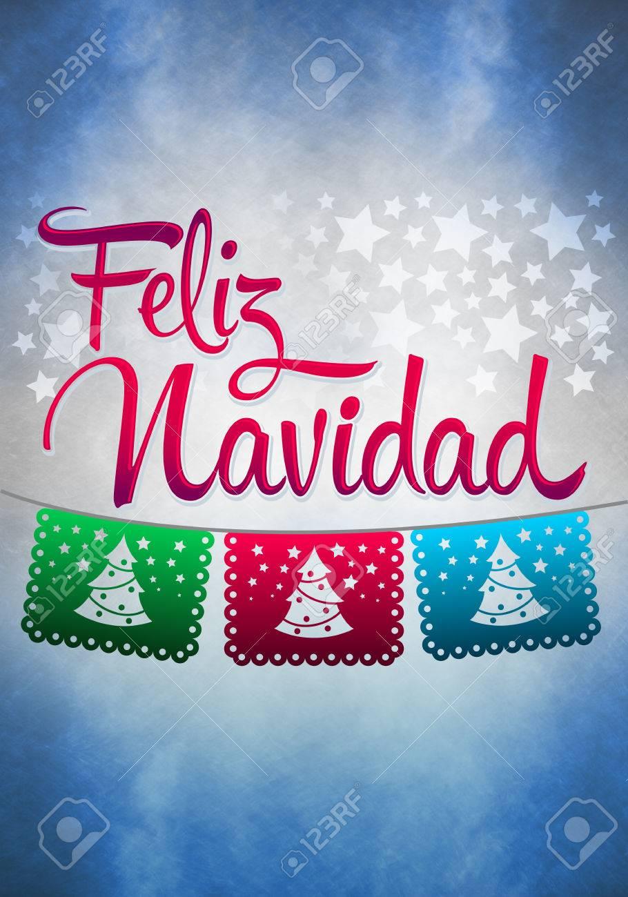 Merry Christmas In Spanish.Feliz Navidad Merry Christmas Spanish Text Poster Template