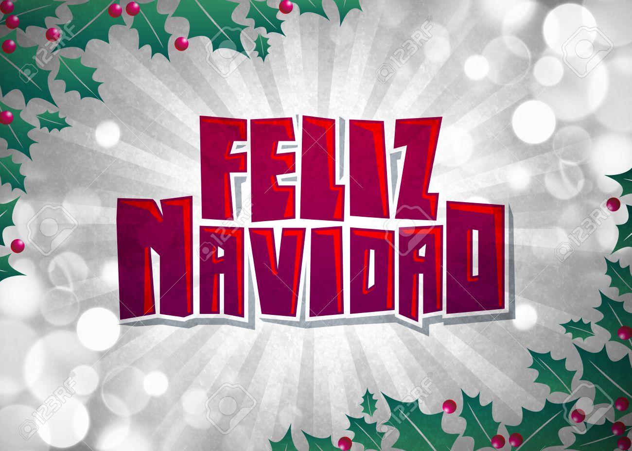 Feliz Navidad Joyeux Noel Texte Espagnol Carte Affiche Banque