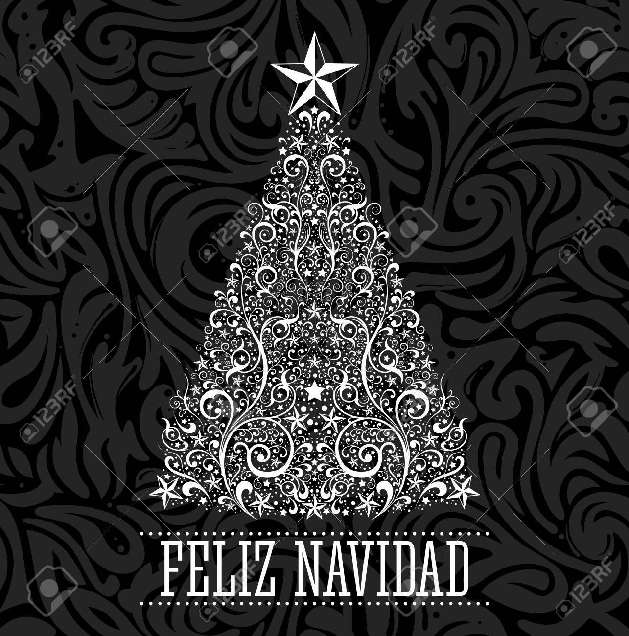 Feliz Navidad Joyeux Noel Espagnol Carte De Texte Vecteur