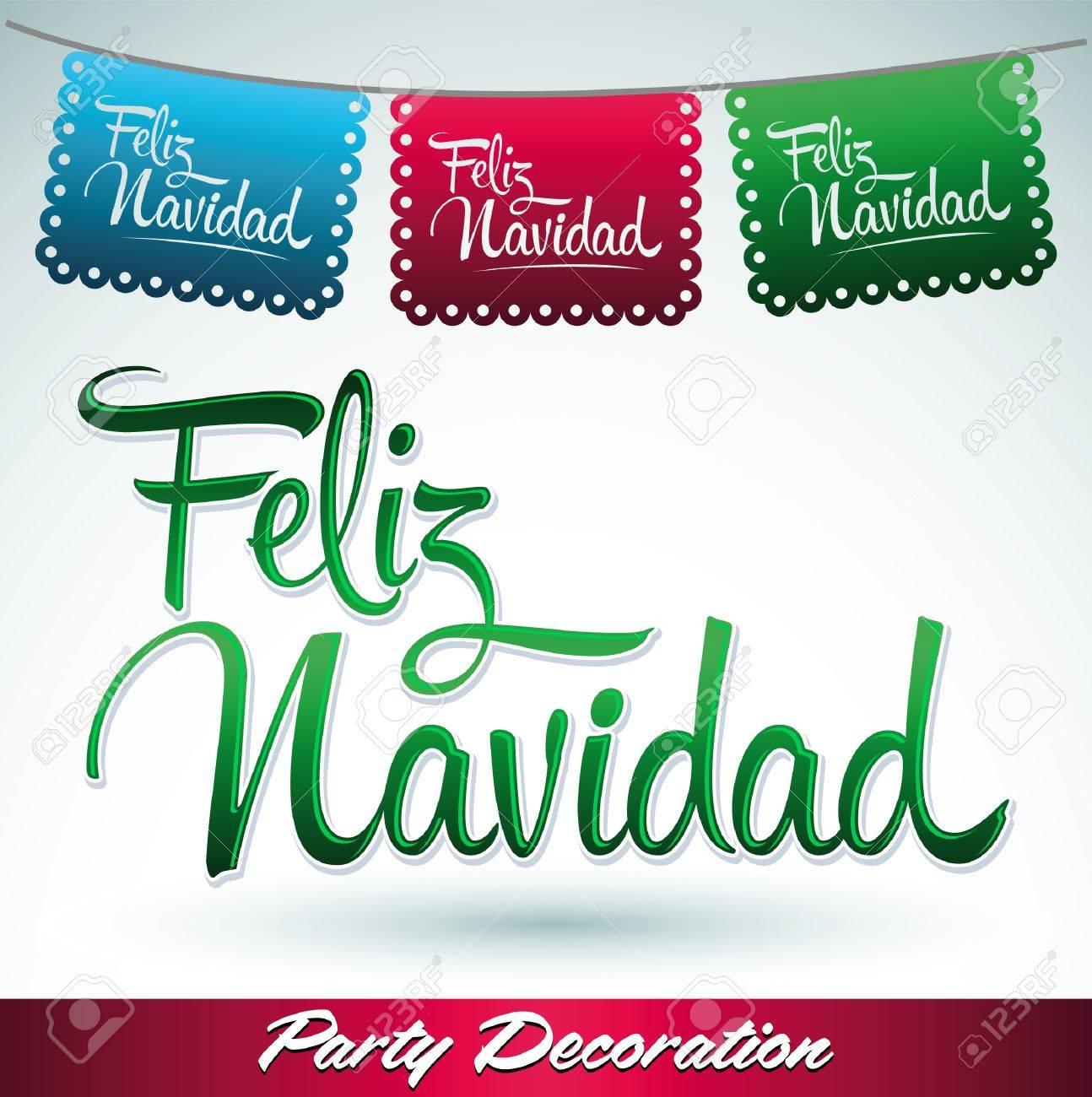 Feliz Navidad Joyeux Noel 2019.Feliz Navidad Joyeux Noel Texte Espagnol Vecteur Calligraphique Ecriture Rue De Decoration