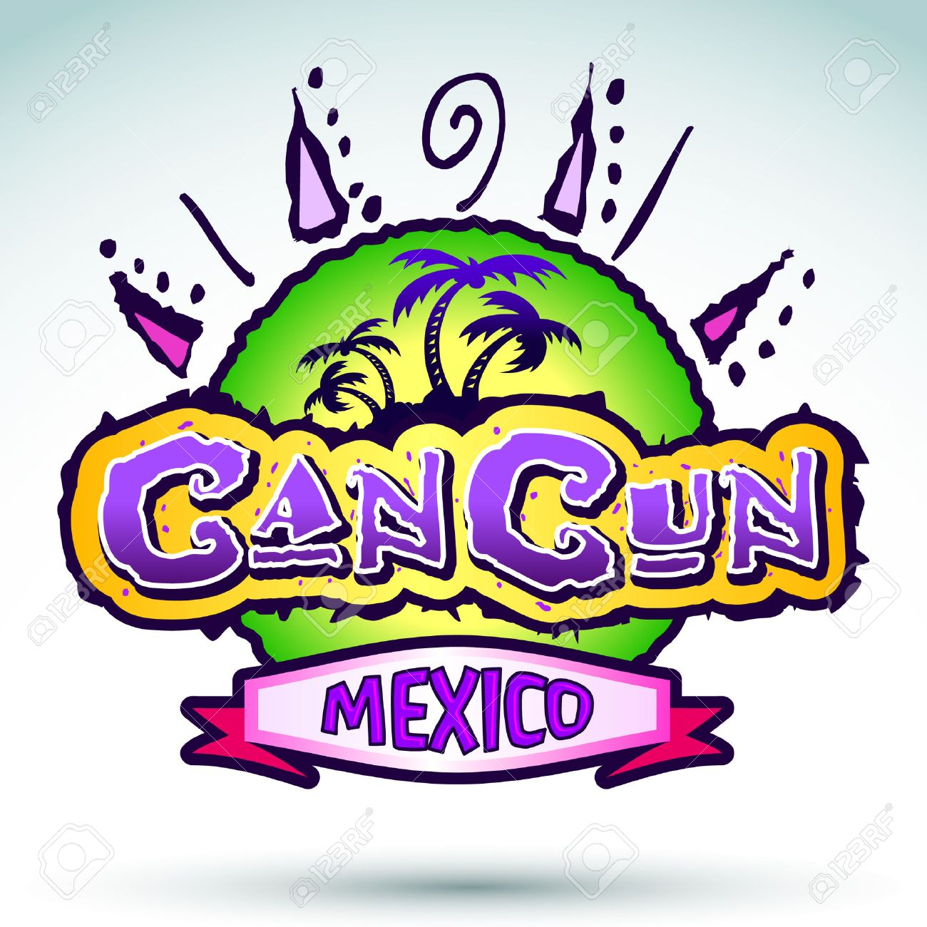 Cancun Mexico Vector Badge Emblem Royalty Free Cliparts Vectors