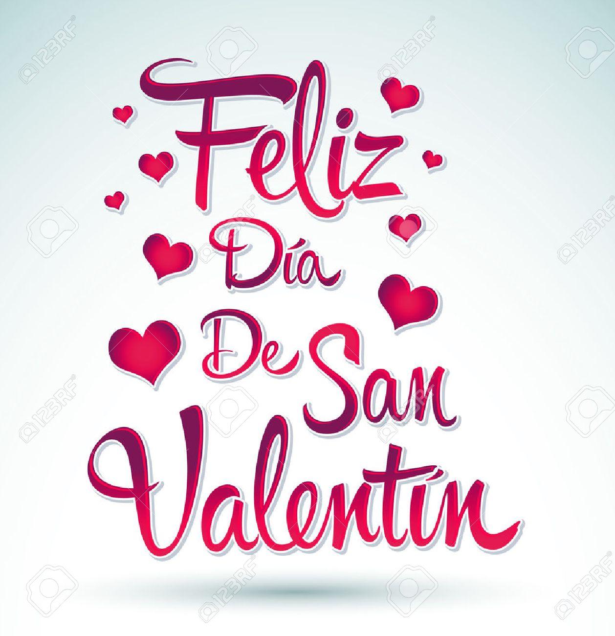Feliz Dia De San Valentin   Happy Valentines Day Spanish Text   Vector  Lettering Stock Vector