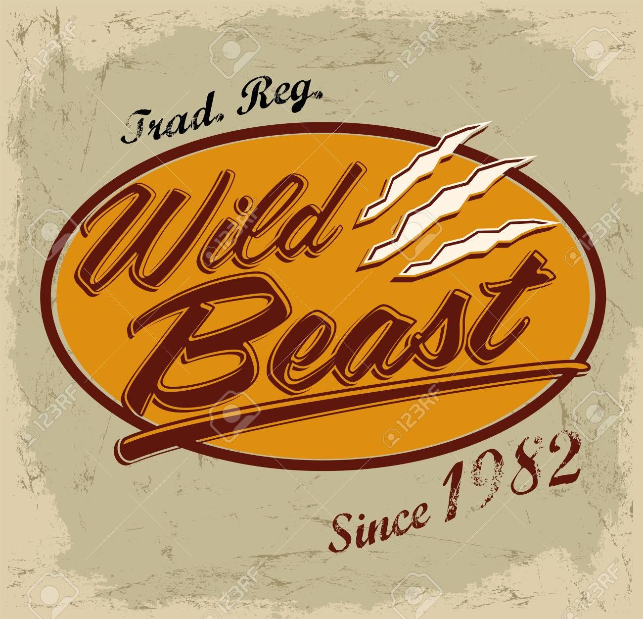 Design t shirt vintage - Wild Beast Vector Lettering Vintage Card T Shirt Print Design Stock Vector