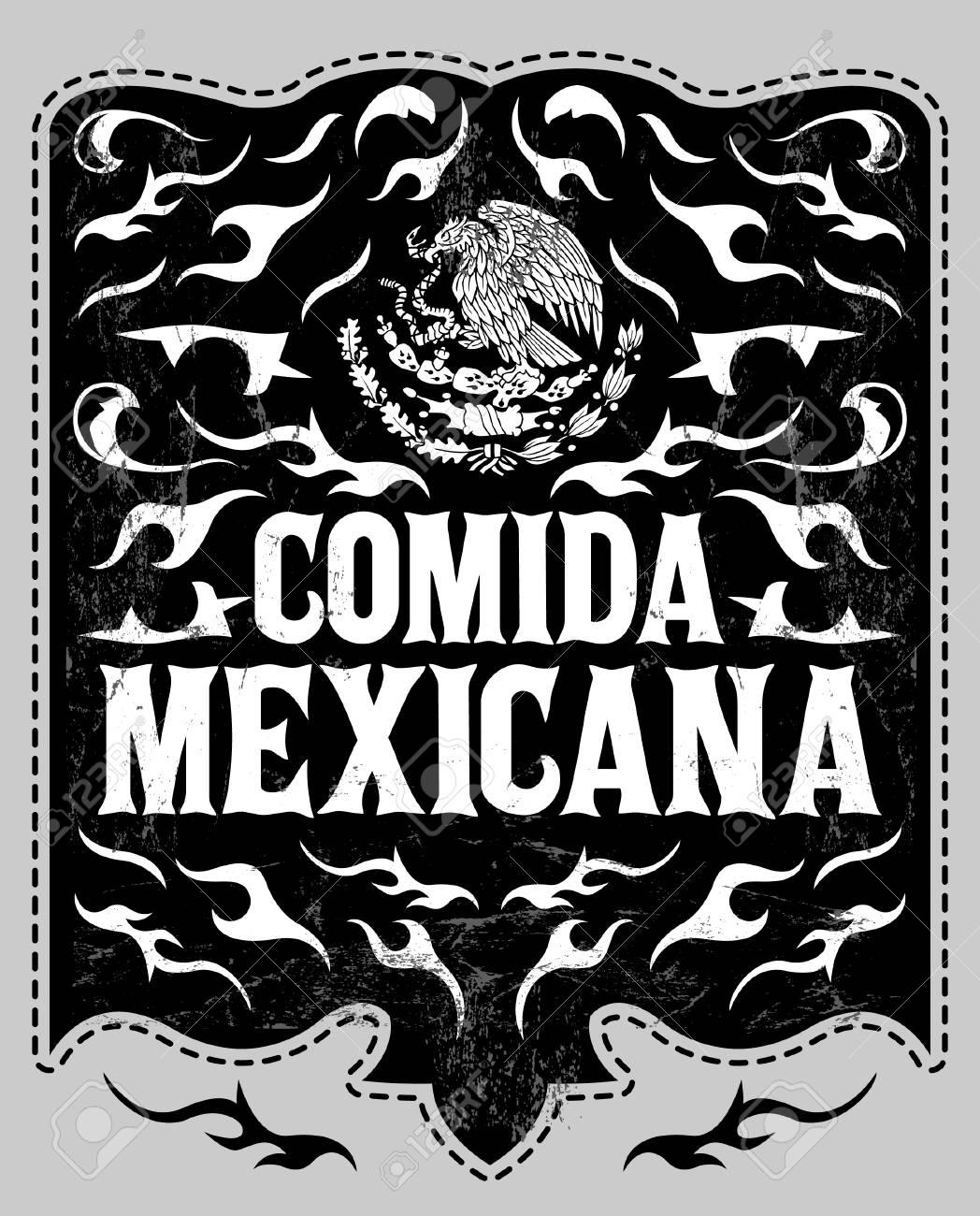 comida mexicana - mexican food spanish text - vintage restaurant