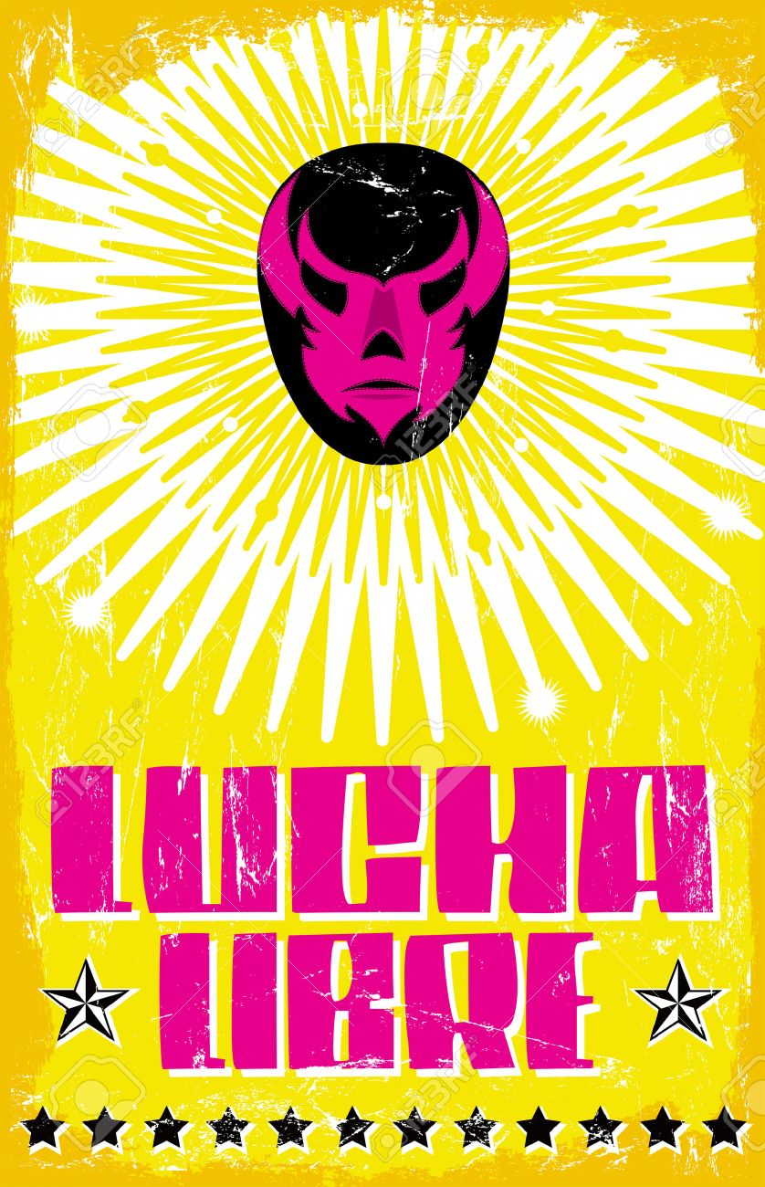 Lucha Libre - Wrestling Spanish Text - Mexican Wrestler Mask ...