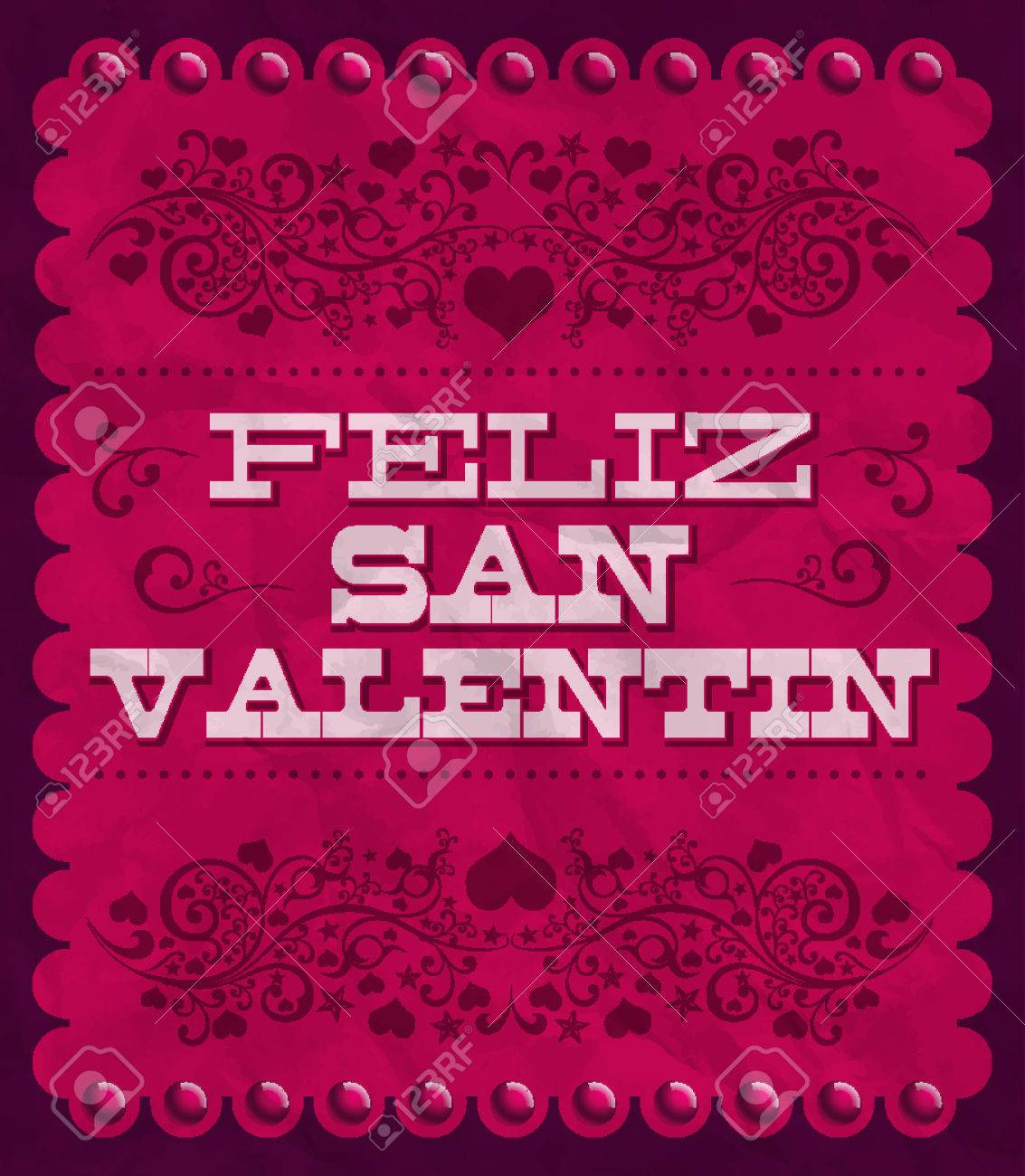 Feliz Dia De San Valentin   Happy Valentines Day Spanish Text   Vintage  Vector Card