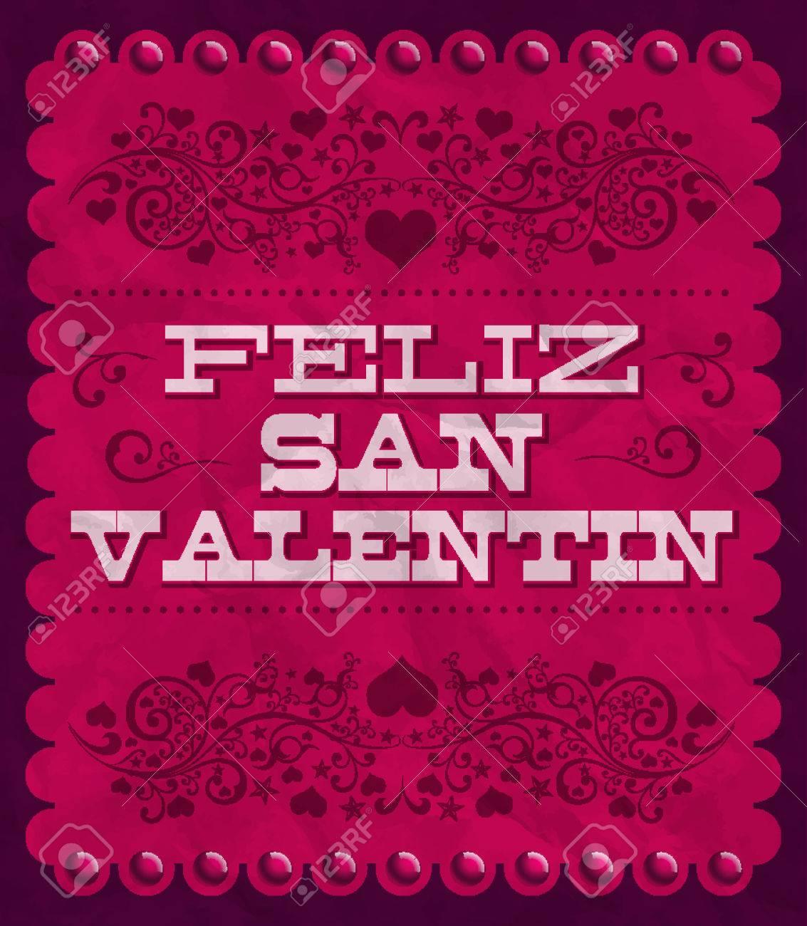 Feliz Dia de San Valentin - Happy Valentines day spanish text - vintage  vector card -