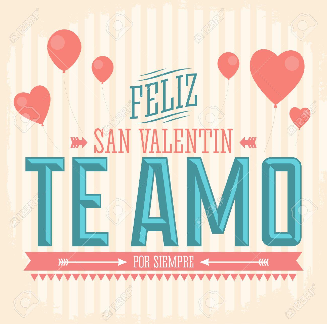 Te Amo Feliz San Valentin I Love You Happy Valentines Day – Valentines Cards in Spanish